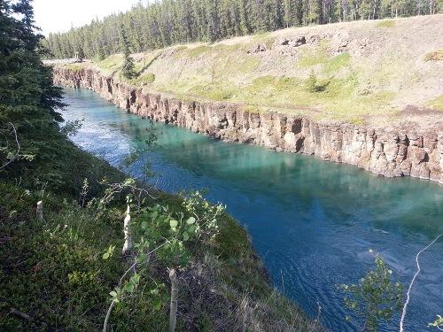 prudký Yukon před přehradou nad Whitehorse